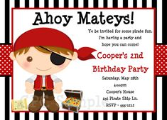 Pirate Birthday Invitation Pirate Party Invitations Printable. $15.00, via Etsy.