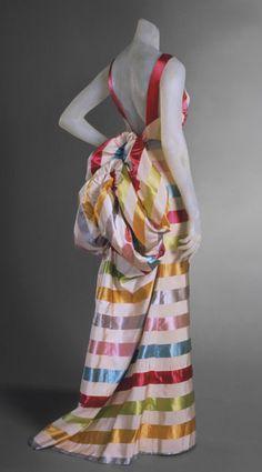 evening dresses, color, evening gowns, elsa schiaparelli, dress elsa, museum, rainbow, evenings, stripe