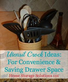 Utensil crock ideas and real-life examples for holding your cooking tools on your kitchen counter {on Home Storage Solutions 101}
