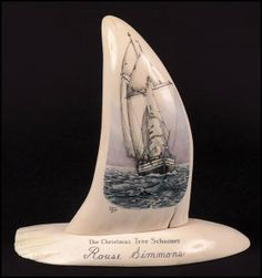 Double Sided Scrimshaw Whale Tooth : Lot 132-8015 #scrimshaw #whale #nautical