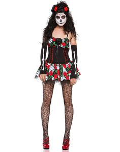 Dahlia of the Dead Adult Women's Costume - Only to remind myself I wanted to do the dia de los muertos face paint at some point/event this halloween..