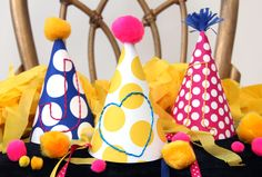 birthday, craft, embroid parti, party hats, parties, diy embroid, diy project, parti hat, parti idea