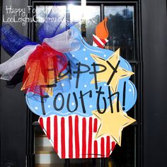 Fourth of July Door Hanger 4th of July Wreath by LooLeighsCharm