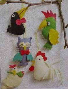 !!!!♥ Feltro-Aholic ♥ Moldes e pap em feltro e feltro estampado!: Molde Aves: galinha,tucano,galo,coruja e papagaio