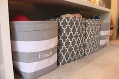 Adore these storage bins from @Vicki Snyder Barn Kids in this great gender neutral playroom! #playroom #storage