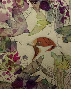 by Colleen Parker, via Flickr #colorful #botanical #art #bird
