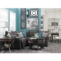 Living room colors - turquoise, grey, white