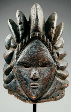 Africa | Helmet mask from the Bassa people of Sierra Leone | Wood