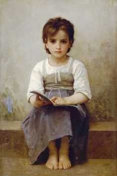 The hard lesson - William-Adolphe Bouguereau (November 30, 1825 - August 19, 1905) I love her eyes.
