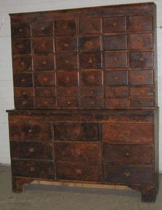 Pine apothecary chest, 19th C,