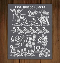 Woodland Number Poster Print 11x14 by FrenchPressMornings on Etsy, $25.00