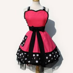 Vintage Apron | Retro Apron Vintage Inspired Pink and Polka Dots Apron
