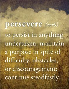 PERSEVERE (verb) = To persist in anything undertaken; maintain a purpose in spite of difficulty, obstacles or discouragement; continue steadfastly.