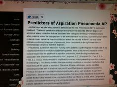 Predictors of Aspiration Pneumonia AP from Amy Speech and Language Therapy, Inc.   Pinned by SOS Inc. Resources.  Follow all our boards at http://pinterest.com/sostherapy  for therapy resources.