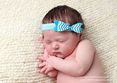 Turquoise Chevron Felt Bow Headband Baby by extrafrostingplease, $8.00