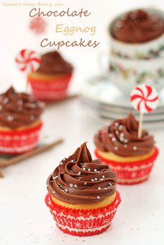 Chocolate Eggnog Cupcakes with a Chocolate Cream Cheese Frosting @Vera Zecevic Yum!