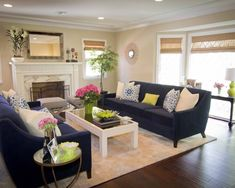 Love the Pop of Color with the Navy Couches