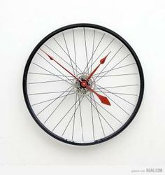 Ooh, I'd love to turn an old bike wheel into a clock. On the list it goes!