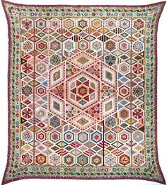 hexagon quilt, quilt patterns, hexagon piec, indianapoli museum, quilt top