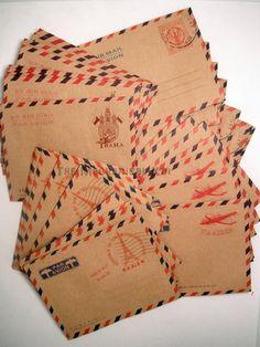 40 Mini Kraft Envelopes Airmail Vintage Style Paris Praha Italy London Par Avion Stationery Set. $9.75, via Etsy.