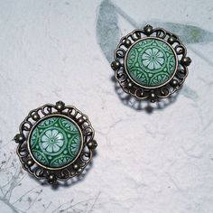 Small Vintage Bronze Crest Plugs with Green by BlueSwallowDesign, £13.99