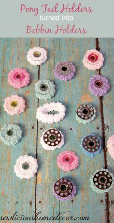 Turn pony tail holders into bobbin holders.  Color code them, keep them organized and from unwinding!  sewlicioushomedecor.com