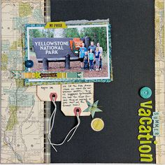 Family Vacation - OA, tag journals hanging down, buttons,