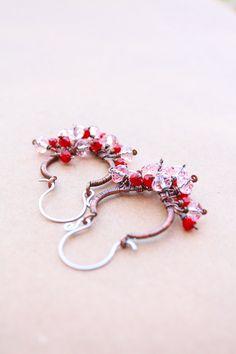 Hoop earrings red and pink, leaf earrings, red and pink crystals