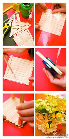 DIY Popsicle Stick Vase DIY Popsicle Stick Vase