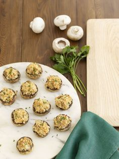 Your family will love these Double Cheese Stuffed Mushrooms with chives, parsley and chopped onions.