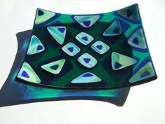 Stack your Glass Stained Glass   Teal Fused Art Dish