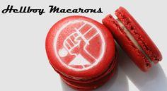 Hellboy macarons via When Geeks Wed