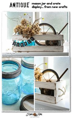 Antique mason jar and old crate display... from new crafts. How to age new mason jar lids and distress a new crate, and other cool tips! via FunkyJunkInteriors.net