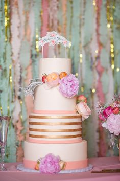 dreamy pastel wedding cake. loving those copper stripes!