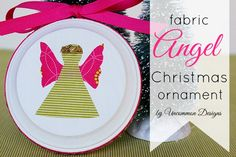 DIY Fabric Angel Christmas Ornament. Use up those fabric scraps. #christmas #angel #angelornament via www.uncommondesignsonline.com