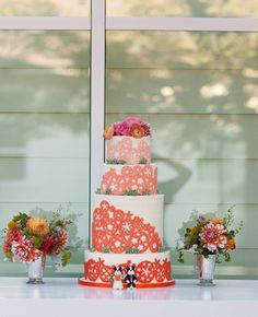 the knot, wine country, country weddings, papel picado, colorful cakes, wedding cakes, coral weddings, bright colors, event planners