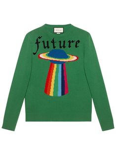 Gucci Wool sweater with planet intarsia - Green