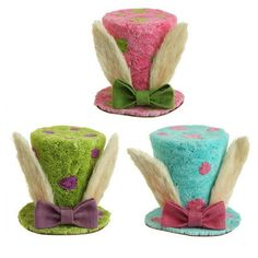 "RAZ Easter Top Hat with Bunny Rabbit Ears  3 Assorted Colors - Priced Individually Made of Paper Measures 7"" x 7.5"" Pink, Blue, Green RAZ Exclusive   #trendytree #easter #tophat"