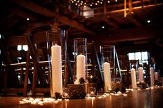 Candles decorating the aisle