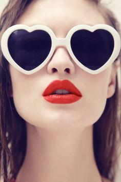 fashion, makeup, sunglass, heart shapes, red lips
