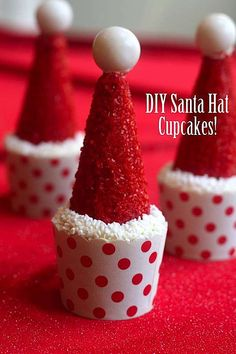 DIY Santa Hat Cupcakes for Christmas made with ice cream cones! christmas desserts, mini cupcakes, dessert ideas, christmas treats, santa hat, red velvet cupcakes, christmas cupcakes, ice cream cones, holiday desserts