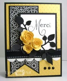 I used the Papertrey Ink stamp set Think Big Favorites #3 along with the MFT rolled roses die, the Taylored Expressions Leafy Branch die and Medium Scallop Border die.  I paired those items with some stitched ribbon, Making Memories designer paper, polka dot embossing folder and some black rhinestones.