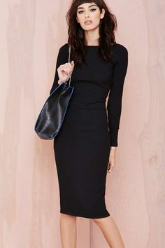 Sometimes there's nothing better than a slick black midi dress.