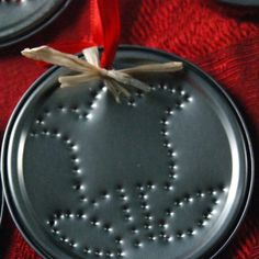 Punched can lid...use different patterns for different holidays.