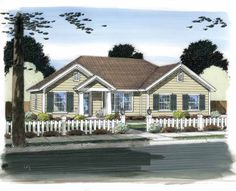 Home Plans HOMEPW75457 - 1,616 Square Feet, 3 Bedroom 2 Bathroom Traditional Home with 2 Garage Bays