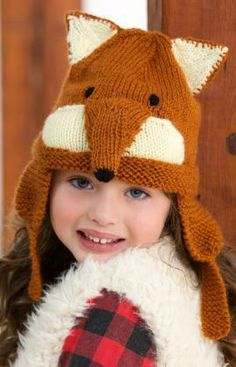 Fox Hat Free Knitting Pattern from Red Heart Yarns
