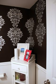 Fabric Damask Stencil and Pearl Oyster Stencil Creme were used by Suzannah of Adventures in Dressmaking to stencil her bathroom walls! http://www.adventuresindressmaking.com/2013/08/stenciled-half-wall-bathroom.html#.UhDXGz_3P-A