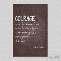 Courage Word Art Print Ambrose Redmoon brown grunge by rdprints
