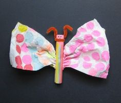 Easy Butterfly Craft for Kids - Wooden clothes pin, Paper towel, Markers, Dot markers, Chenille Stem