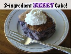 """""""This is SOOO good and good for you! 2 ingredient cake Mix together, 1 Angel Food cake mix (dry) and 1, 20 or 22 ounce can of fruit pie filling. That's it! Bake in an ungreased 9x13 pan at 350 for 28-30 minutes. It will puff up"""""""